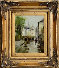 Antique Gold Framed, Oil Painting on Canvas, After Rain Street Scene Cityscape