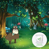 Vliestapete Fototapete Tapete Vlies Grun Eule Magic Wald Tiere Kinder FW13857VE
