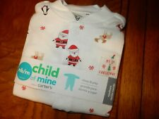 Nb Newborn Carter's Cotton My 1st Christmas Santa Holiday Footed Sleeper Outfit