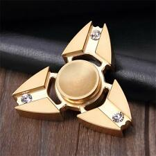 Tri Fidget Hand Spinner Triangle Top Brass Diamond Finger Toy Gyro EDC Kid Adult