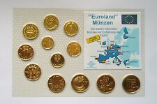 Euro-Zone Countries Collection of the last National Coins, Gold Plated