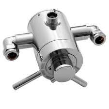 Chrome Exposed Concentric Thermostatic Shower Mixer Valve Chrome Twin Lever Bath