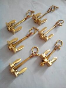 Lot of 6 Brass Anchor Key chains Nautical keychain handcuff key chain Gift Items