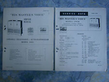 Vintage TV & Radiogram Service Manual HMV 1902. Plus 1902B service data sheet.