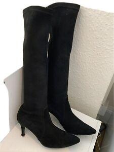 Blue Velvet Black Suede Knee High Boots Size 39/6 (161BB)