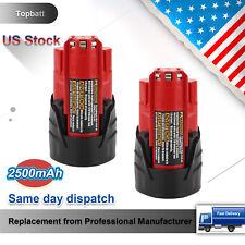 For 12V Milwaukee M12 Battery XC 2.5Ah 48-11-2401 Lithium Li-Ion Power Tools-2pc