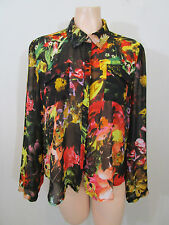T by Bettina Liano Sheer Floral Shirt Size 14