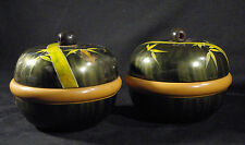 Lot of 2 Vintage Japan WWII Lacquered Wood Lidded Bowl Bamboo Design World War 2