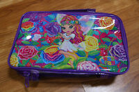 Lisa Frank Rose Fairy Pencil Bag Sparkle Purple Clear Cosmetic Bag Carrying Case