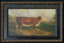 "Antique American Folk Art Oil Painting ""Portrait Of Cow"""