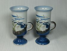 Otagiri Japan Hand Crafted Pair of Irish Coffee Mugs Lighthouses Seagulls