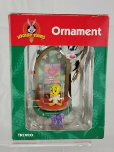 Vintage Looney Tunes Christmas Ornament Sylvester Tweety Bird Trevco 1999 in box