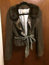 Rare Hanii Y Leather And Fur Jacket Size: 38