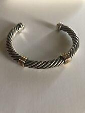 14K Yellow Gold & .925 Sterling Silver Twisted Heavy Open Cuff Bracelet