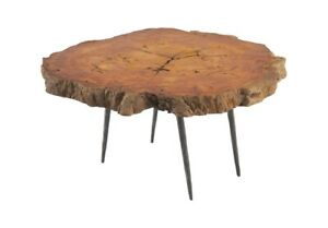 "36"" Round Coffee Table Live Edge Amber Brown Smooth Finish Wood Grain"