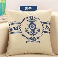 Marine Pirate Rope Anchor Cotton Fabric Linen Sofa Decor Pillow Cushion Cover