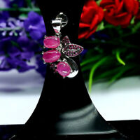 NATURAL 5 X 8 mm. RED RUBY & PINK CZ PENDANT 925 STERLING SILVER