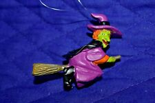 """Estate Halloween Decor Ornaments to hang on Tree or.Resin 2-3/4"""" Witch Look"""