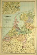 1905 ANTIQUE MAP HOLLAND AMSTERDAM UTRECHT GELDERLAND NORTH BRABANT HAGUE