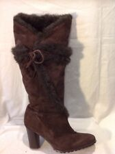 French Connection Brown Knee High Suede Boots Size 39