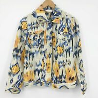 Chico's Ikat Linen Blend Jean Jacket Style Size 0 or US Standard Small