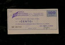 MOLTO RARO Banca Industriale Gallarese Lire 100 mini assegno assegni miniassegno