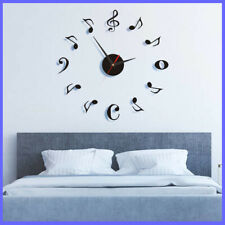 DIY Wall Clock Black Music Note Mirror Surface Sticker Home Office Decoration