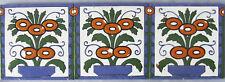 3 Trent Antique Tiles Hand Painted Flower Border Panel Vintage Ceramic Border