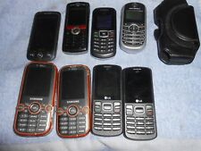 8 CELL PHONES & 1 CASE -  LG, SAMSUNG, TRACFONE, MOTOROLA, CRICKET - SOME WORK!