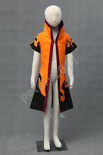 Naruto Uzumaki Children Kids Cosplay Costume Outercoat Cloak Coat Child