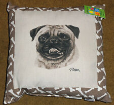 """Sephia Dogs Pug Indoor/Outdoor Climaweave 20"""" Toss Pillow"""