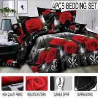 4Pcs 3D Stereoscopic Rose Printed Bed Duvet Quilt Cover Pillowcase Bedding Set