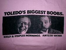 Vintage 80s Toledos Biggest Pechos Camiseta Radio Locutores KELLY & Grapas Wcwa