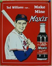 Vintage Replica Tin Metal Sign Ted's Moxie baseball soda Ted Williams 60