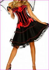 Black &Red Burlesque Moulin Rouge Can Can Tutu Fancy Dress Costume Corset Outfit