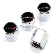 (4) Dodge New Stripes Logo Chrome ABS Tire/Wheel Stem Air Valve Car Caps Covers