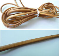 1/3/5M Natural Brown 6mmx10mm Round Genuine Leather Cord String Thong Jewellery