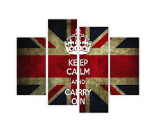 "LARGE CANVAS PRINTS WALL ART UNION JACK FLAG KEEP CALM AND CARRY ON 35""90CM"