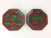 "6"" Vintage Hexagonal Sushi Plates LOT X2 Japanese Japan Green Trees Handpainted"