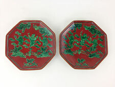 "6"" Vintage Hexagonal Sushi Plates LOT X2 Japanese Japan Green Trees Handpainted"
