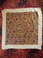 "70s Vintage Houndstooth Silk Scarf- Rafella-22""x23"" Handrolled Hem"