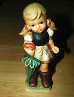 Vintage Figurine NORLEANS Girl with Umbrella Pigtails and Boots Made in Japan