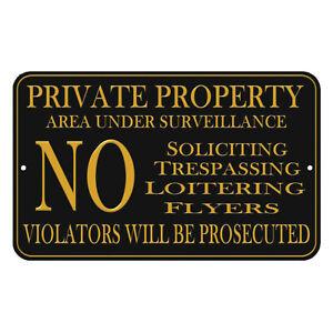 "Private Property No Soliciting No Trespassing Video Surveillance Sign 8""x12"""