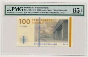DENMARK banknote 100 KRONER 2013. Rohde sign. PMG grade MS-65 EPQ