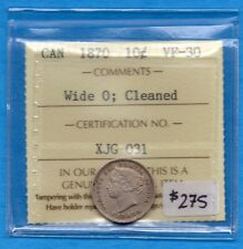Canada 1870 Wide '0' 10 Cents Ten Cent Silver Coin - ICCS VF-30 (cleaned)