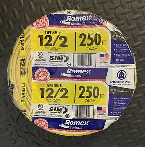 12/2 Romex Wire 12-2 AWG 250ft Non Metallic NM-B Copper Electrical Wire 250'