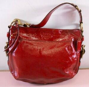 COACH NWT ZOE HOBO TOTE BAG PURSE PATENT LEATHER CRIMSON RED RARE MSRP $428