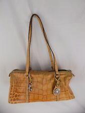Dooney & Bourke Croco Embossed Leather Zip Tan Shoulder Bag Purse