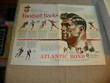 """1953 Atlantic Bond 17"""" x 22"""" poster of Football Running Backs (Thorpe, Nevers, e"""