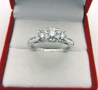 Anniversary 14K White Gold 0.65tcw Round Diamond 3 Stone Cluster Halo Ring